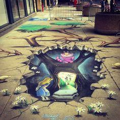 Alice in wonderland chalk art I love street art😍 Fantasy Kunst, Dark Fantasy Art, Fantasy Films, Banksy, Chiara Bautista, 3d Chalk Art, Art 3d, Graffiti, Sidewalk Chalk Art