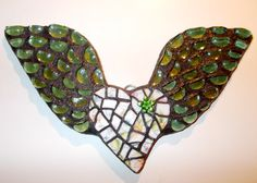 Spring Green Angel Wing Heart Mosaic by Heart2HeartMosaics on Etsy, $25.00 Angel Heart Mosaic | Mosaic Angel Heart |
