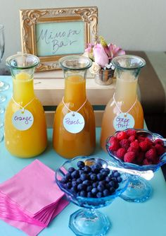 Mimosa Bar: What a great idea for a afternoon party, brunch or a shower!