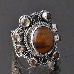 HOT SELL  925 SOLID STERLING SILVER Tiger Eye & Citrine RING 8.45g R9334 SZ-5 #Handmade #Ring