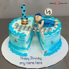 Baby Boy Cakes, Cakes For Boys, Girl Cakes, Half Birthday Cakes, Baby First Birthday Cake, Baby Shower Cake Designs, Online Cake Delivery, Cake Name, Beautiful Birthday Cakes