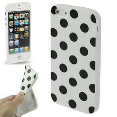 iPhone 5 soft case / hoesje, wit met zwarte stippen (dots / black & white). Iphone 5 Cases, Iphone 5s, Ipod, Samsung Galaxy, Ipods