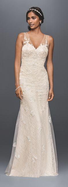 Appliqued Tulle Sheath Wedding Dress   David's Bridal Spring 2017   #melissasweet #melissasweet #ad
