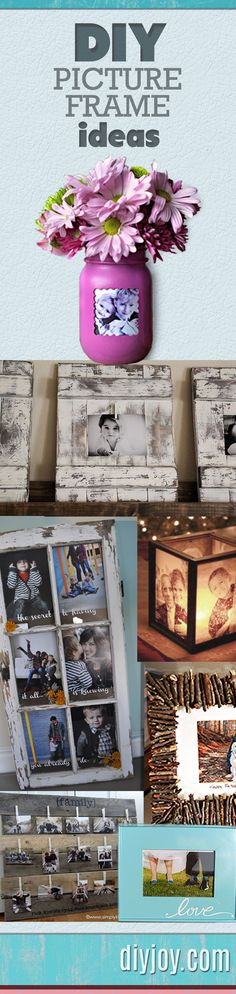 A DIY picture frame is a great upcycling project that makes a great DIY gift. This easy craft idea also adds to any DIY home decor & keep memories preserved Homemade Picture Frames, Homemade Pictures, Do It Yourself Design, Do It Yourself Inspiration, Diy Wall Art, Diy Art, Marco Diy, Cadre Photo Diy, Picture Frame Projects