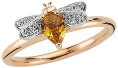 Bee Goddess Rose Gold Diamond and Citrine Queen Bee Ring #ad #bee #ring