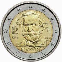 Pièce de 2 Euros commémorative D'Italie 2013 commémore le 200ème anniversaire de la naissance de Giuseppe Verdi compositeur italien ( 10 000 000 ex/ estimation environ 4 Euros )
