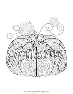 fall coloring page autumn pumpkin zentangle - Therapy Coloring Pages Printable