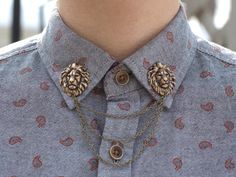 antique bronze lion head collar clip/chain dapperandswag - etsy