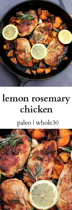 The perfect one pan meal. This is a Paleo dinner and Whole30 dinner! Sure to satisfy everyone in the family. Easy Paleo Dinner Recipes, Yummy Chicken Recipes, Whole30 Recipes, Clean Eating Recipes, Diet Recipes, Whole Food Recipes, Gluten Free Recipes, Healthy Eating, Lemon Rosemary Chicken