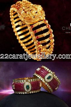 Broad Bangles in Gold and Rubies - Jewellery Designs