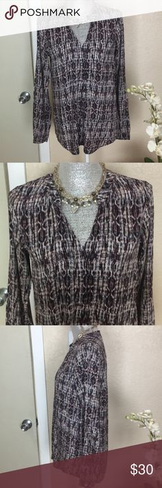Velvet by Graham and Spenser print blouse EUC Velvet by Graham & Spencer long sleeved, print (colors: purple, white, Black and Tan) blouse, with small mandarin color and front v-neck.  This is a pullover blouse. Velvet by Graham & Spencer Tops Blouses