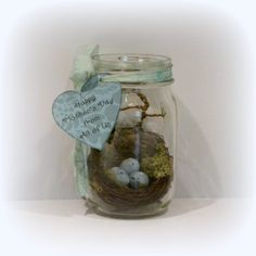 Mason Jar, Mother's Day Gift, Shabby Chic Mason Jar, Shabby Chic Decor, Bird Nest, Cottage Chic Decor, Jar With Bird Eggs, Pint Mason Jar. $12.00, via Etsy.
