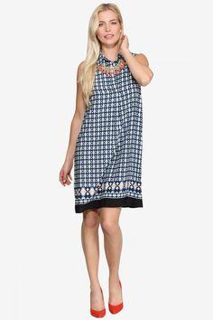 Collared Geo Printed Shirt Dress