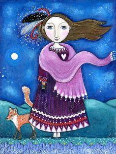 "Girl and Fox Art Print - Shapeshifter  -  Feather Head Dress - Feather Wall Decor  Totem Spirit Animal  Whimsical Folk Art - ""Shapeshifter"""