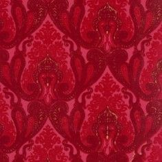Burgundy and Red Kismet Ornate Indian damask velvet flocked wallcovering