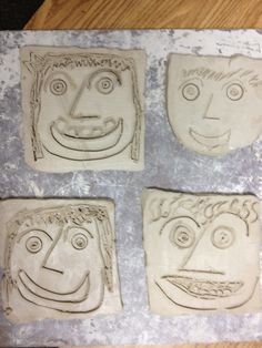 First graders created self-portraits using clay slabs. Allow two 40-minutes sessions plus drying time.
