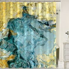 Abstract shower curtain, aqua blue and yellow shower curtain, art shower curtain, Beach Time