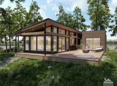 Maisons usinées, lofts modulaires et bien plus encore Chic Shack, Plan Chalet, Small Modern Home, Tiny House Cabin, Tiny Houses, Multi Family Homes, House Roof, Small House Plans, Building A House