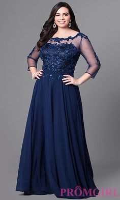 Image of 3/4 sleeve illusion-mesh long plus-size prom dress. Style: DQ-9473P Front Image