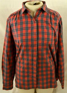 Charisma II Ladies Size EU 40 USA Size 10 Long Sleeve Plaid Blouse #CharismaII #Blouse
