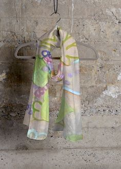 """Art in Fashion: Artful Apparel,Modal Scarf, Fashion Accessories """"Cashmere Silk Scarf-Party Table II"""" by International Contemporary Artist and Designer Leslie Gifford"""