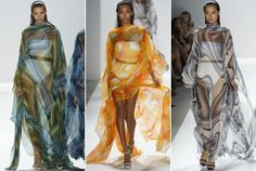Carlos Miele: Psychadelic Cover-Ups  For yet another flash to the past, Carlos Miele had his white swimsuit-clad models stroll down the runway in floating chiffon kaftans. Just imagine channeling your inner Bianca Jagger wearing one of these pool-side.
