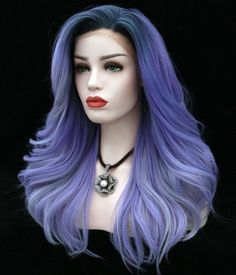 Blue Wigs Lace Frontal Black And Blue Hair Color Blue Wig, Pink Wig, Ombre Hair Color, Blonde Ombre, Wig Styles, Short Hair Styles, Natural Hair Styles, Short Hair Wigs, Curly Hair
