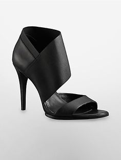 "the veranic high heel features a wide bandage ankle strap and 4.25"" heel height."