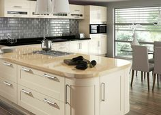 Cream Kitchen Ideas Uk cream high gloss/walnut kitchen | for the home | pinterest