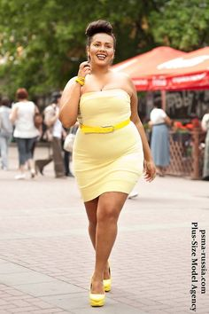 Confidence is the sexiest thing you can wear!  But this hot yellow dress isn't far behind :) #plussize #fashion