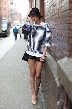 Love these layers.  Could work with long black skinny jeans and ballet flats.