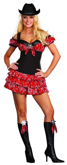 Sexy Cowgirl Costume Microsuede and Bandana Print DressVelvet HatRemovable Sheriff PinMatching Boot ClipsGiddy up cowgirl! This sexy cowgirl costume is Costumes Sexy Halloween, Cowgirl Halloween Costume, Cool Costumes, Adult Costumes, Costumes For Women, Halloween Ideas, Halloween 2014, Halloween Stuff, Costume Ideas