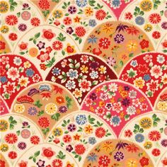 Bunter Kokka Stoff süße Blumen - Blumenstoffe - Stoffe - kawaii shop modeS4u