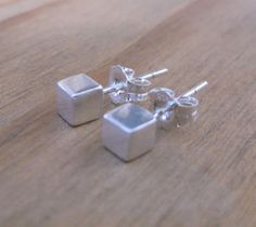 Sterling+Silver+Cube+Stud++Earrings+from+ClutchandClasp+by+DaWanda.com