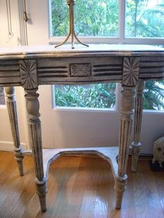 shabby chic refinished side table - looks gorgeous!