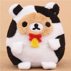mini Rilakkuma brown bear as cow plush toy by San-X from Japan