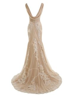 Sunvary Gorgeous Champagne Mermaid Wedding Dresses for Bride Lace and Chiffon Prom Evening Gowns US Size Champagne