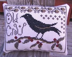 Completed Cross Stitch Primitive Sampler Old Crow by Stitchcrafts, $30.00