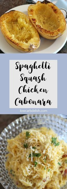 This spaghetti squash carbonara with chicken is only 5 net carbs per serving and absolutely delicious!