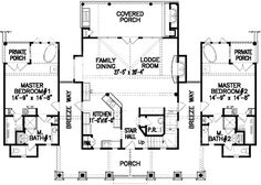 Dual Master Bedrooms - 15705GE | 1st Floor Master Suite, Bonus Room, CAD Available, Cottage, Country, Loft, Mountain, PDF, Split Bedrooms, Vacation, Wrap Around Porch | Architectural Designs