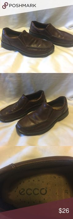 Men's Ecco Brown slip on Loafers Euro 44 US 10.5 Ecco Brown slip on Loafers. Gently used.  Euro size 44 is a US 10.5 Ecco Shoes Loafers & Slip-Ons