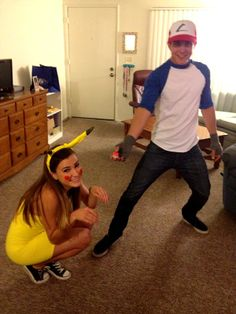 Ash Ketchum and Pikachu costume. Couples costume for Halloween, DIY