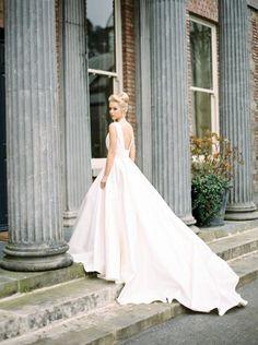 Long Evening Gowns Vestidos De Noiva 2016 Ruched Satin Ball Gown Wedding Dresses V Neck Royal Train Princess Simple Bridal Dress Guest Wedding Dresses From Adminonline, $132.25| Dhgate.Com