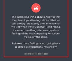 Anxiety and Excitement can often feel exactly the same in our bodies. Helping our kids reframe what they're feeling as 'excitement' rather then 'anxiety' will set them up for greater success in the classroom. When School Starts, Going Back To School, New School Year, School Days, Antenatal Classes, New Teachers, Parenting Quotes, Talking To You, Anxious
