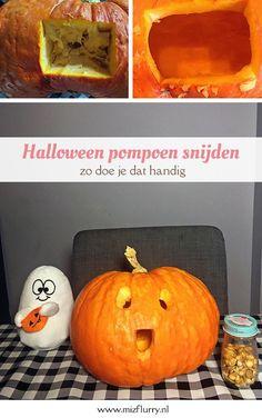 Wil je zelf een pompoen decoratie maken voor Halloween met kinderen? Een pompoen uithollen en er een Halloween gezicht uit snijden is natuurlijk superleuk. Zo doe je dat het handigst. #knutselen #halloween Halloween Diy, Happy Halloween, Easy Peasy, Pumpkin Carving, Blog, Kids Crafts, Life Hacks, Party Ideas, Tips