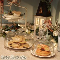 Creative Country Mom's Vintage Home and Garden: A Beautiful Way To Display Your Holiday Leftovers ~~Cottage Kitchen With Antique Dishwares