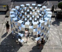 Ring II Installation by Arnaud Lapierre, photo: ©Ghislain Coumes French designer Arnaud Lapierre has updated his cubic mirror Ring installation that Land Art, Art Fou, Instalation Art, Artistic Installation, Mirror Art, Art Plastique, Light Art, Public Art, Oeuvre D'art