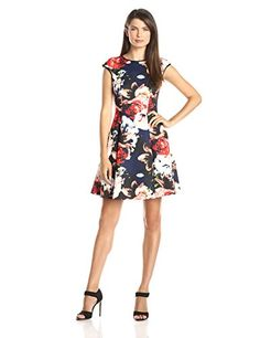 Vince Camuto Women's Cap Sleeve Floral Print Fit and Flare Dress, Print, 8 Vince Camuto http://smile.amazon.com/dp/B004A9VY20/ref=cm_sw_r_pi_dp_PVocwb06PJ253