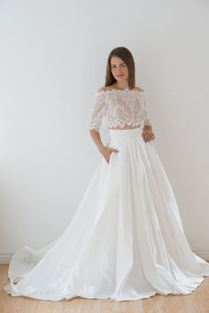 Scalloped lace top and satin two piece unique bridal wedding dress