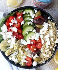 Dinner for Two: Loaded Greek-Style Quinoa Bowls w/ Chunky Feta & Spicy Tzatziki